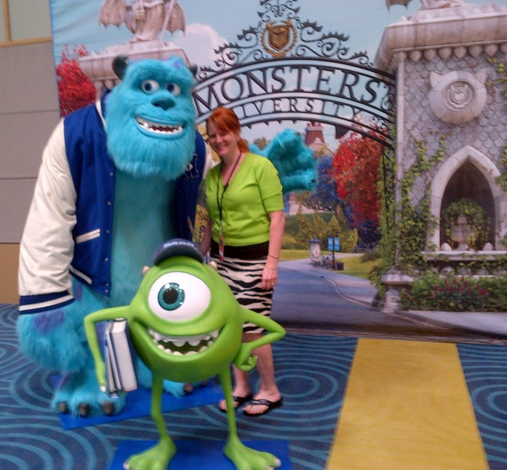 With Mike and Sulley from Monsters University